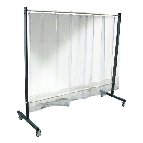 SST3 Schutzwand, 2,0 x 2,15 m, fahrbar, mit Vorhang 0,4 mm, 1,60 m lang, klar