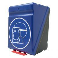 SecuBox® Maxi Aufbewahrungsbox für Gesichtsschutz, blau/schwarz mit Aufdruck