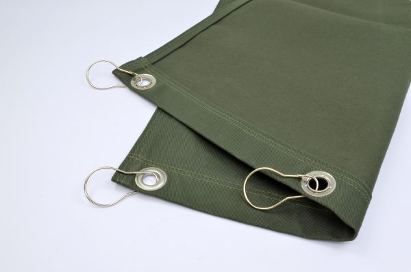 Schweißervorhang aus Baumwollgewebe, Edelstahlösen, alle 30 cm, mit Ringen