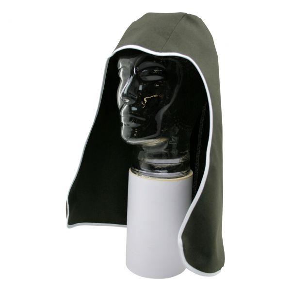 Kopfschutztuch aus Baumwollgewebe mit Nackenschutz, oliv, schwer entflammbar