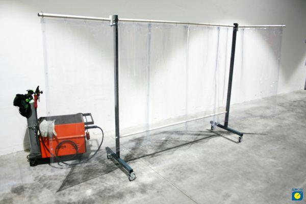 SST4 Schutzwand mit Schwenkarm, 2 x 3,9 m, lang, klar
