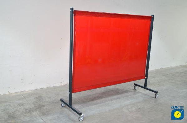 SST1 Schutzwand, 2,0 x 2,15 m (H x B), fahrbar, PVC-Spannvorhang, rot, R4