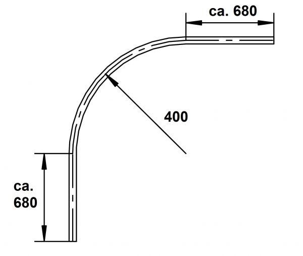Norm Kreisbogen, R = 0,4 m, L = 2,0 m (Stahlprofil C-45)
