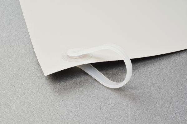 Schutzvorhang aus PVC-Strukturgewebe, B1, lichtgrau, mit Kunststoffringen