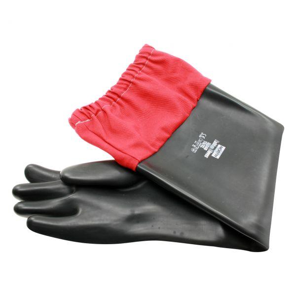Latex Handschuhe, Länge 70 cm Stoff-Verlängerung, schwere Ausführung, Größe 10