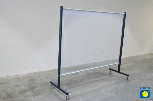 SST1 Schutzwand, 2,0 x 2,15 m (H x B), fahrbar, PVC-Spannvorhang, transparent