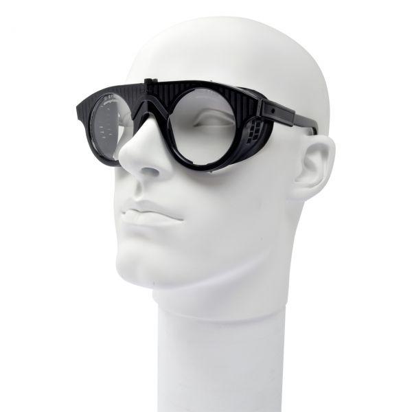 Schutzbrille schwarz, runde Gläser Ø 50 mm, klar, splitterfrei