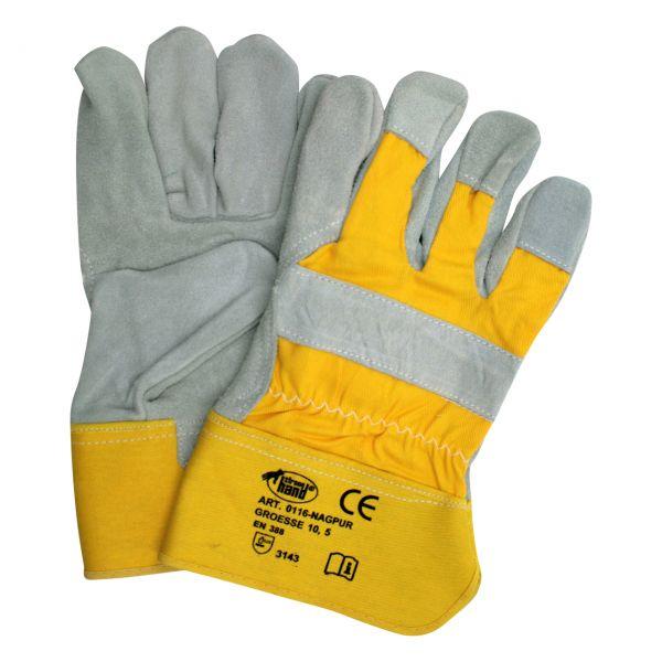 Arbeitshandschuh aus Spaltleder mit Knöchelschutz, 5-Finger, EN 388, Größe 10