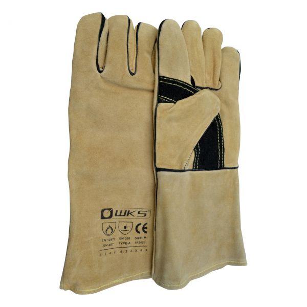 MIG/MAG Spaltlederhandschuh, braun, Kevlar®, Länge 35 cm