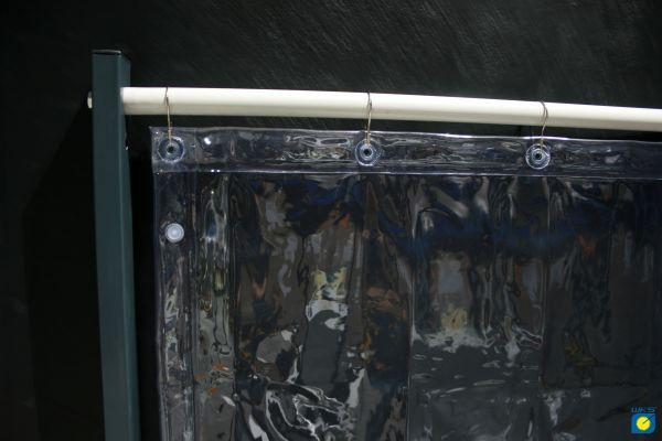 PVC-Vorhang klar, UV stablil, 1,40 m breit, mit 7 Aufhängeösen