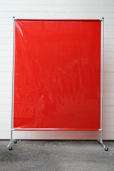 EURO Wand mit Stahlrohrgestell, 4 Rollen, 1,40 x 2,00 m, PVC Vorhang rot