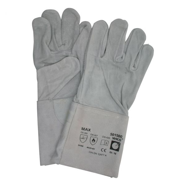 Schweißerhandschuh Spaltleder, 5-Finger, MAX, EN 388/407/420