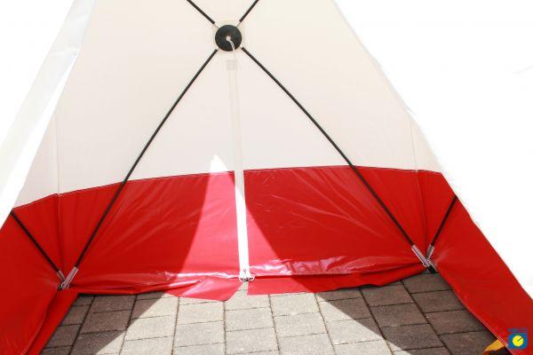 Pop Up Zelt WK25, Spitzzelt, schwer entflammbar, weiß/rot, 250 x 200 x 190 cm