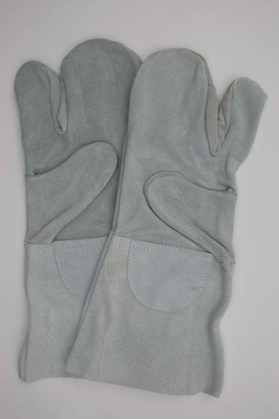 Schutzhandschuh aus Spalt-Leder, 3-Finger Handschuh mit Stulpe ca. 35cm