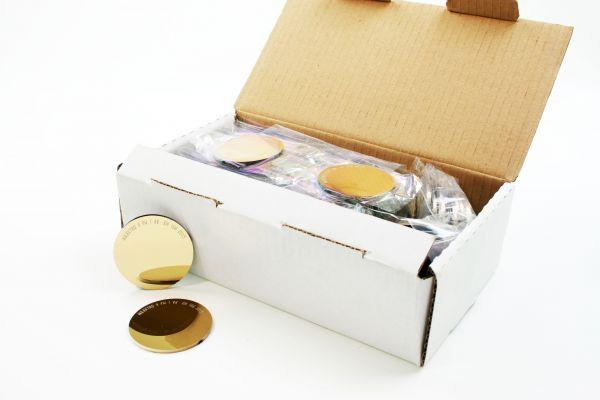 AULEKTRO Brillenglas, goldtonverspiegelt, Ø 50 mm