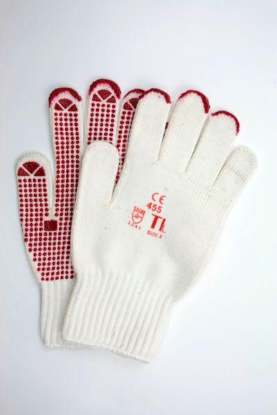 Strickhandschuh aus Polyamid-Baumwolle, Handfläche mit roten Noppen, Größe 9/L
