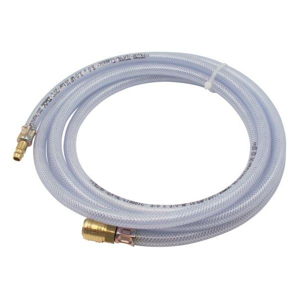 Gewebeschlauch, PVC, klar, 9 x 3 mm, Kupplung und Nippel NW 7,2