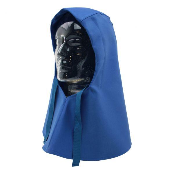 Kopfschutztuch aus SECAN, mit Nackenschutz, blau, vorne geschlossen