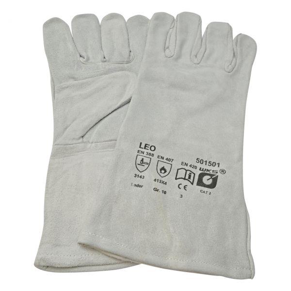 Handschuh aus Spaltleder, 5-Finger, Baumwollfutter, mit Stulpe ca. 35 cm