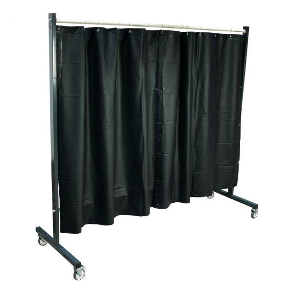 SST3 Schutzwand, 2 x 2,15 m, fahrbar, mit PVC Vorhang, 1,60 m lang, grün R9