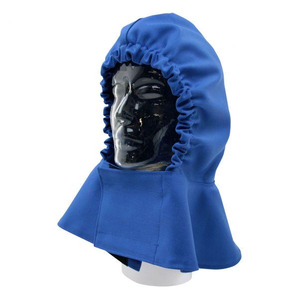 Kopfschutztuch aus SECAN, mit Nackenschutz, blau, vorne Klettverschluss