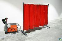 SST3 Schutzwand, 2x2,15m, fahrbar, mit PVC Vorhang 0,4mm, 1,6m lang, rot R4