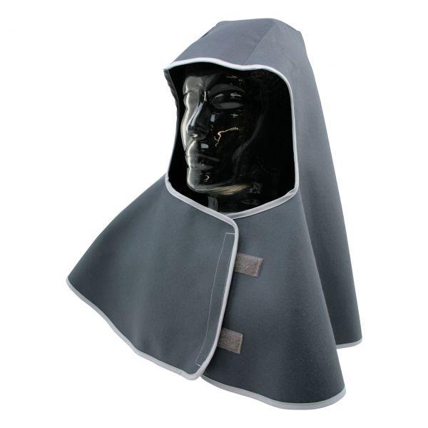 Kopfschutztuch aus SECAN, mit Nackenschutz, vorne Klett, grau, schwer enflammbar