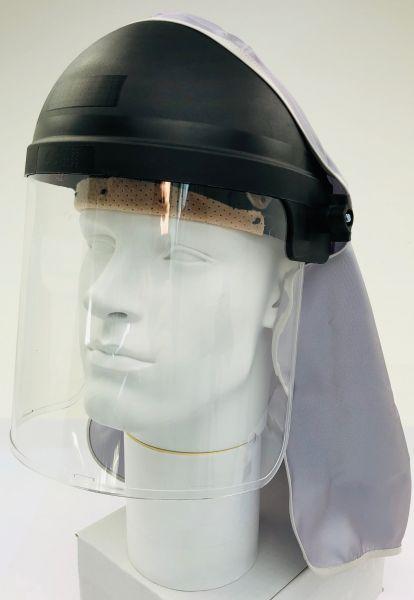 Gesichtsschutz, klar, Kopfhalterung, klappbare PC Scheibe, Kopftuch 1 Viskose