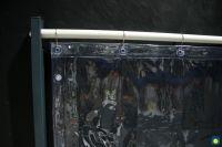 PVC-Vorhang klar, UV stablil, 1,40 m breit, mit 7 Ringen