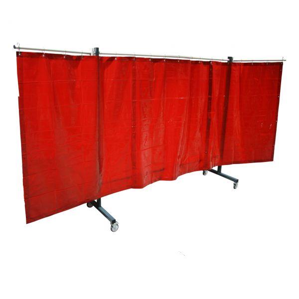 SST4 Schutzwand mit Schwenkarm, 2 x 3,9 m, 1,60 m lang, rot R4