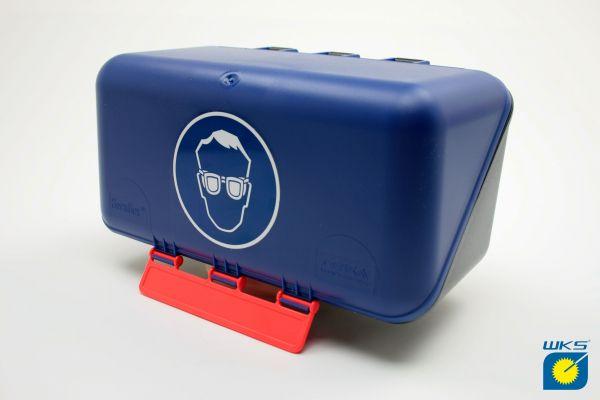 SecuBox® Mini für Brillen, blau/schwarz mit Aufdruck, für Wandmontage