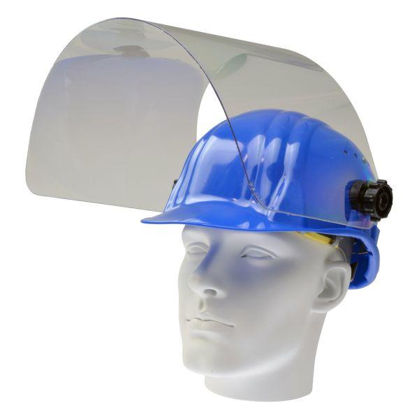 Arbeitshelm mit klappbarer PET-G Scheibe 460 x 240 mm, blau