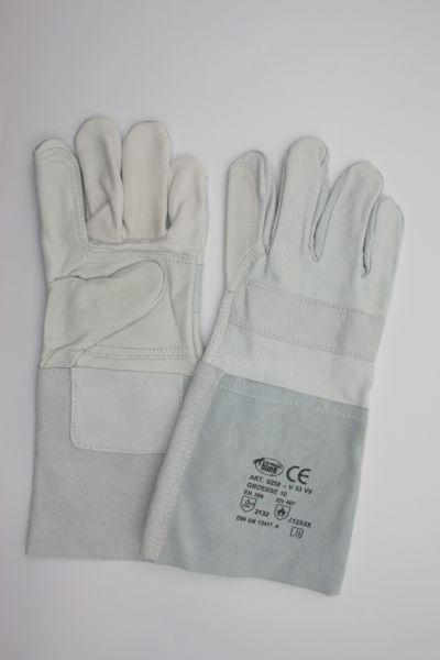 Handschuh aus Kombileder, Kat. 2, 5-Finger, Stulpe verstärkt ca. 35 cm