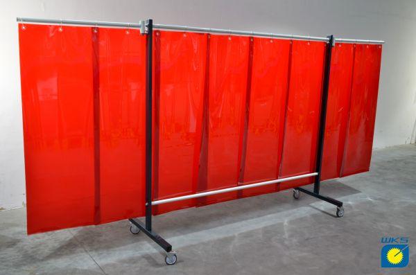 SST8 Schutzwand mit Schwenkarm 2,0 x 3,9 m, Lamellen 570 x 1 x 1600 mm, rot R4