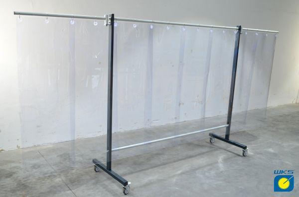 SST8 Schutzwand mit Schwenkarm 2,0 x 3,9 m, PVC-Lamellen 570 x 1 x 1600 mm, klar