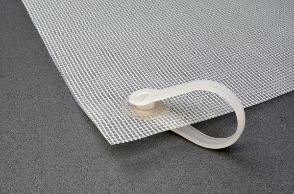 Schutzvorhang aus PVC-Gittergewebe mit Kunststoffringen, milchig-transparent