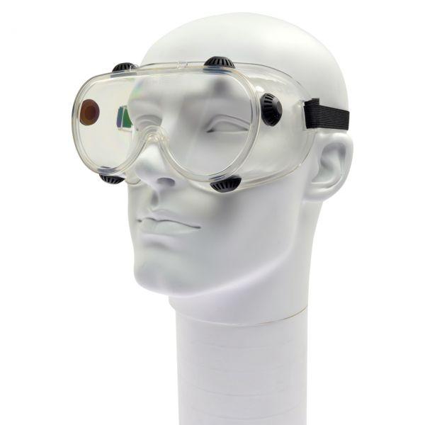Vollsichtbrille klar mit einteiliger Scheibe, klar, antibeschlag mit Lüftungen
