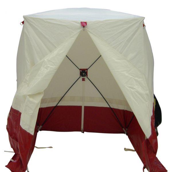 Pop Up Zelt WA18, Flachzelt, schwer entflammbar, weiß/rot, 210 x 210 x 200 cm
