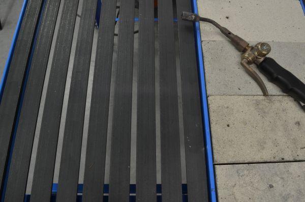Schweiß- und Löttisch 120x60x80cm, Schamottstein und Gitterrost, mit Schubl.