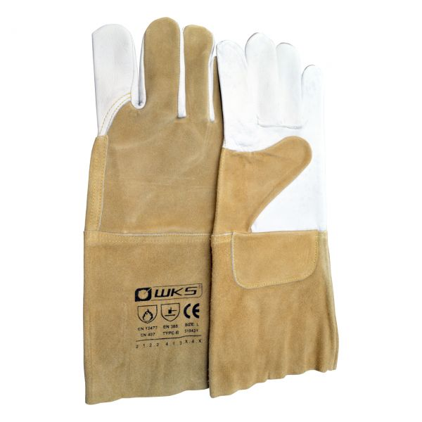 WIG/TIG Nappalederhandschuh, braun, Kevlar®, Länge 35 cm