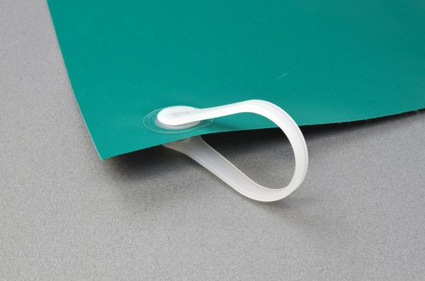 Schutzvorhang aus PVC-Strukturgewebe, B1, dunkelgrün, mit Kunststoffringen